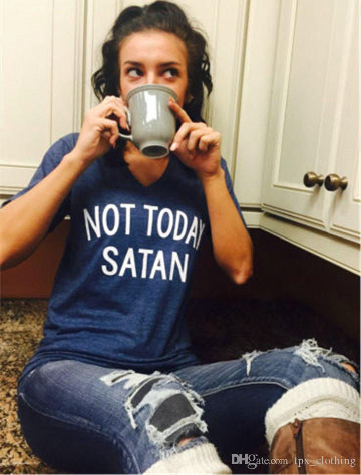 Satan t shirt Not today cool words short sleeve gown Street leisure tees  Unisex clothing Pure color cotton Tshirt