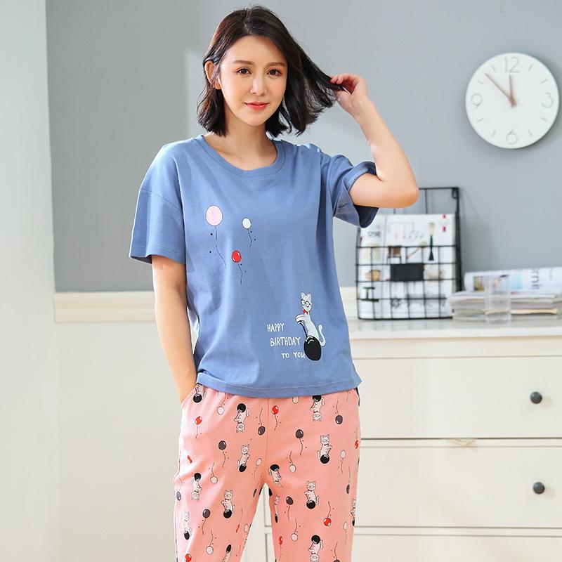 969f8d3b66 2019 New Arrival Summer Women s Cute Cartoon Pajamas Cotton Pajama Sets Female  Sleepwear Striped Homewear Pyjamas Plus 3XL Clothing From Roberr