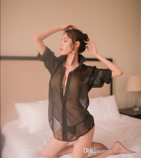 79f82acf0a 2019 Sexy Lingerie 2018 Women Transparent Shirt Underwear Satin Bath Wear  Clubwear Stripper Long Sleeve Sleepwear Sex Costumes With G String From  Enjoyable