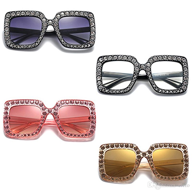Big Diamond Sun Glasses Square Colored Shades Women Oversized ...
