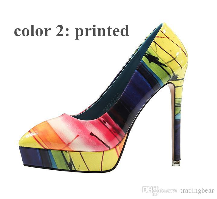 bright colorful rainbow patent pu leather platform pointed high heel shoes women pumps size 34 to 39