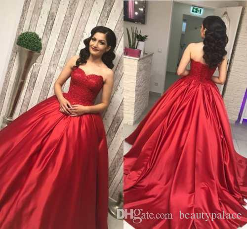 Charming A Line Sweetheart Red Evening Dresses Sweep Train Satin Lace Top  Sexy Lace Up Formal Evening Prom Gowns Evening Dresses For Women Formal  Dresses Uk ... 869af486e