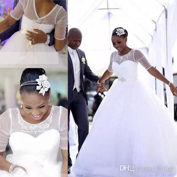 Discount 2018 African Wedding Dresses Ball Gown Jewel 1/2 Sleeve ...