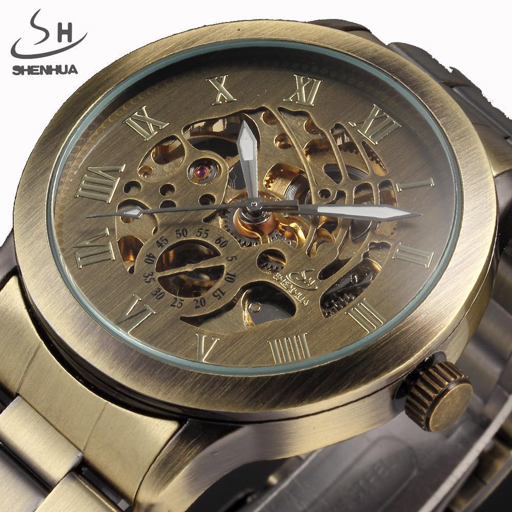 f0660068ba6 Compre Nuevos Relojes Steampunk Hombres Vintage Bronce Mecánico Automático  Esqueleto Relojes De Pulsera Hombres Reloj Mecánico Relogio Masculino  D18100706 A ...