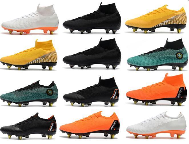 ea5134bd3c Compre Nike Mercurial Superfly VI 360 Elite SG Chuteiras De Futebol AC  Homens Cristiano Ronaldo Steel Spikes Chuteiras De Futebol Botas De Futebol  ACC De ...