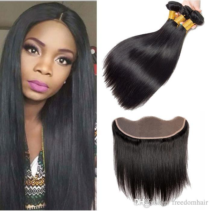 8a Brazilian Virgin Hair Straight Lace Frontal With 3 Bundles Malaysian  Virgin Human Hair Weaves With 13X4 Frontal Closure Natural Color Womens  Hair Clips ... 2984c6d30