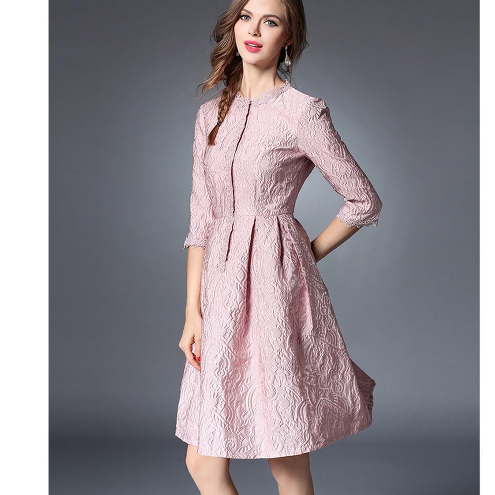 buy online b2db1 6d8e2 Elegante abito estivo donna rosa pizzo ricamato jacquard sovrapposizione  mezza manica o collo lunghezza del ginocchio vestito grown palla