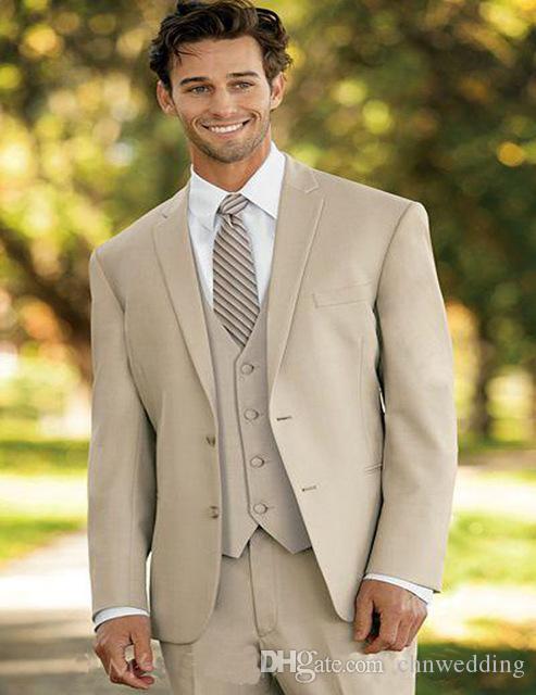 Mezcla de lana de color caqui Trajes de los hombres para el novio de la boda Trajes de esmoquin Homme Vestido de fiesta Chaqueta + Pantalones + Chaleco Novio Mejor hombre Blazer Terno masculino