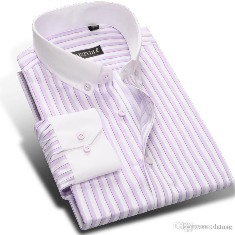 French Cuff Shirt fashion Men/'s Formal Slim Casual Business Dress Shirts 6347