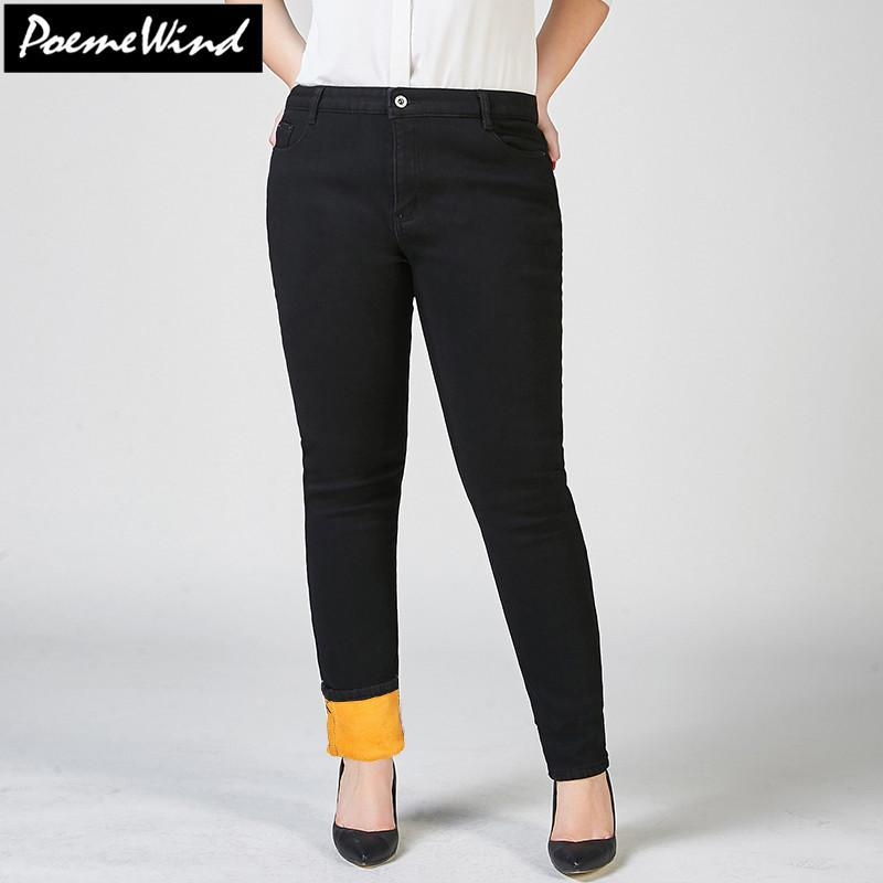 831a3b4c1d3 2019 PoemeWind Plus Size Women Warm Thick Plus Velvet Denim Jeans Mujer  Winter Skinny High Waist Jeans Pants Women 38 40 7XL 6XL 5XL From Sogga