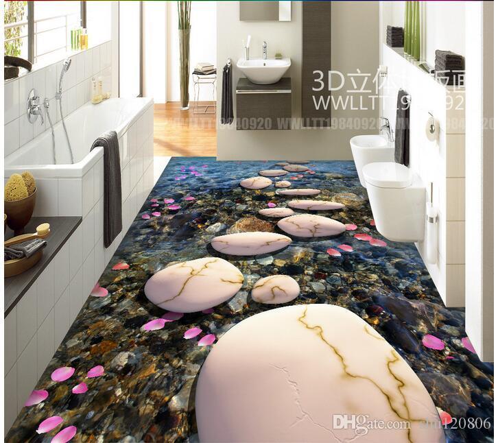 3d pvc flooring custom photo Waterproof floor wall sticker Stone path cobblestone petals living room 3d wall murals wallpaper for walls 3 d