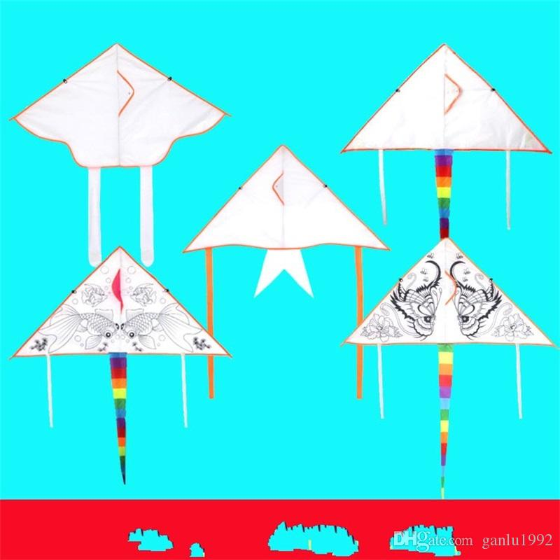 Painting Kites Pure Manual Hand Painted Blank Kite DIY Color Filling Children Kid Toy Teaching Graffiti 1 75tf V