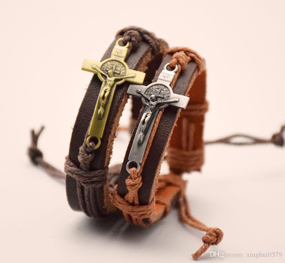 Promotion holiday Church gifts metal cross Leather Braided Bracelet Wristband adjustable Vintage Christmas Bracelets For Men and women