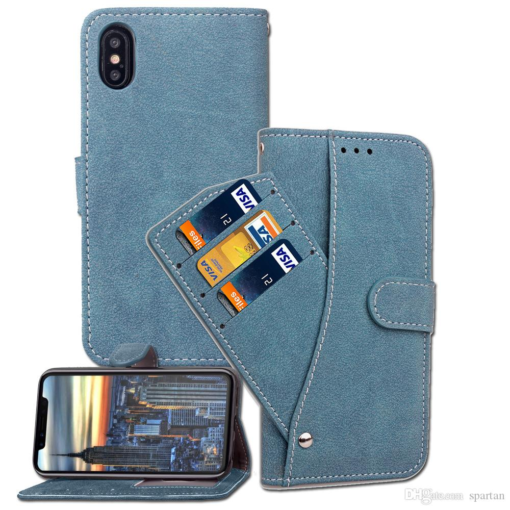Rotating Leather Case Wallet Pouch with Removable Slide Card Slot Flip Stand Cover for Iphone X 8 Plus 7 6s S8 S7 edge
