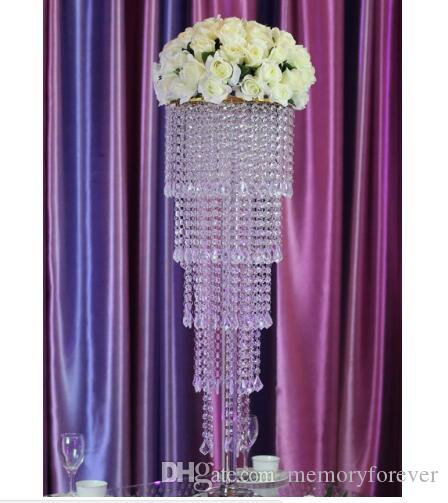 wholesale 80cm Tall acrylic crystal table centerpiece wedding chandelier flower stand Wedding Decoration party events decor