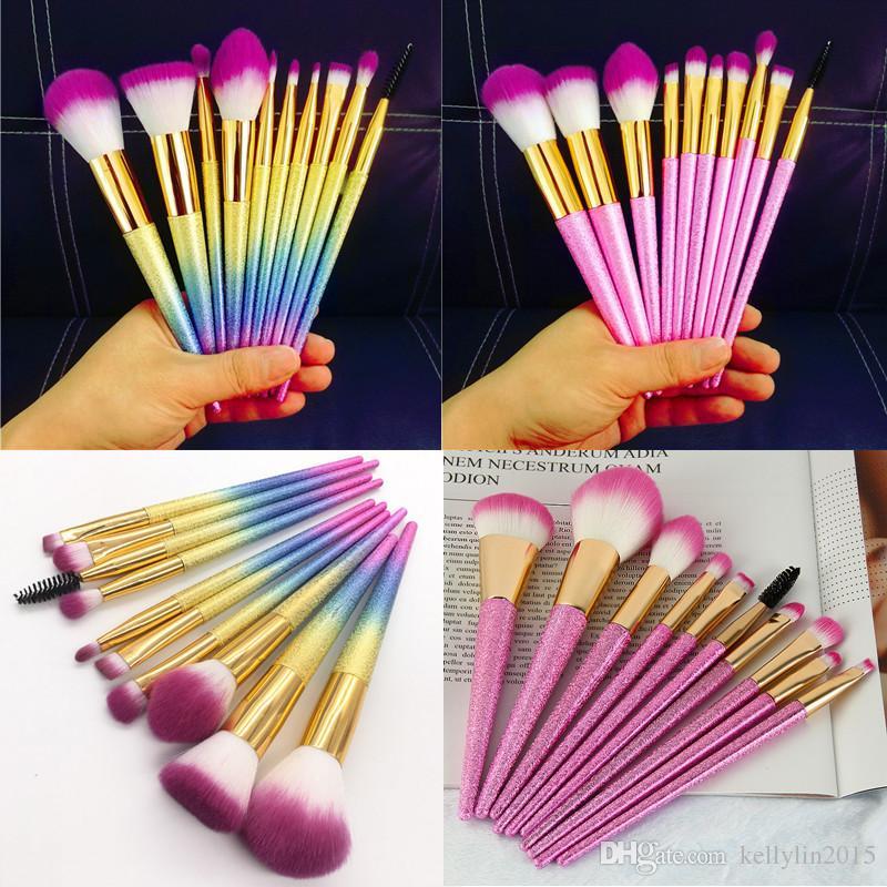 Sakura Pink Makeup Brushes Sets Kit 10 Professional Fan Eye shadow Foundation Blush Eyebrow Lip Brush Cosmetic Make Up Brushes Set