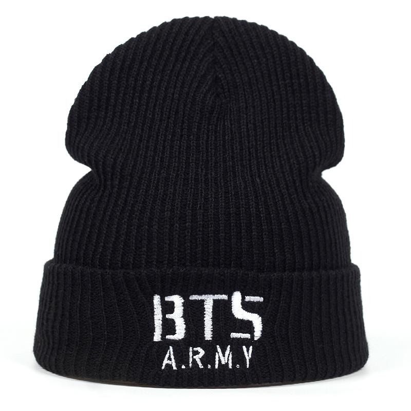 d1f4f73218ed4 2019 2018 New BTS ARMY Beanies Knit Cap Couple Winter Caps Skullie Bonnet Winter  Hats For Men Women Beanies Warm Cap Hats From Longanguo