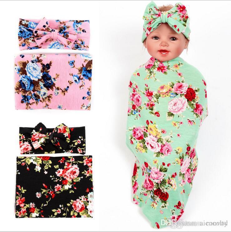 Baby Girls Floral Swaddle Wrap Blanket Bow Headbands Set Infant