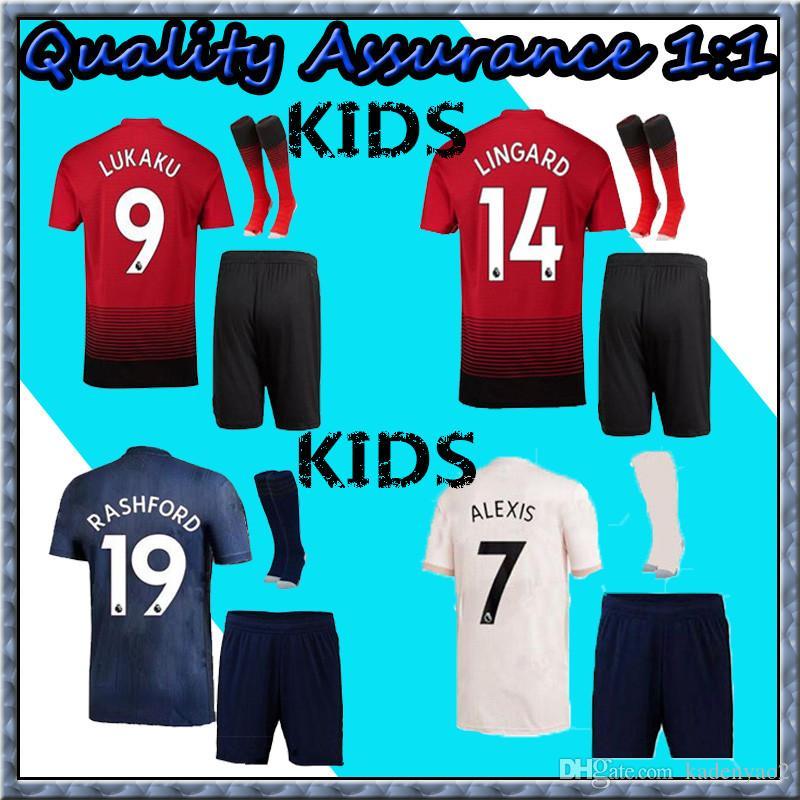 3606a2265 18 19 MANchester United ALEXIS LUKAKU Kids Kit Soccer Jerseys 2018 ...
