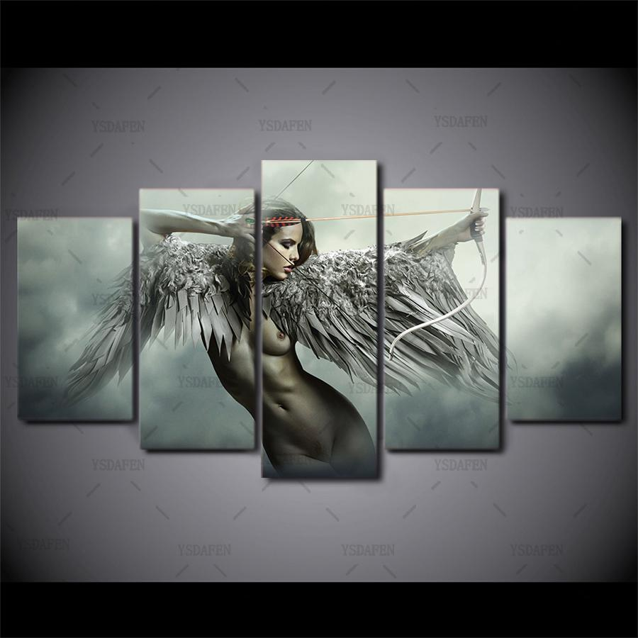 dbb8288e38381 HD printed 5 piece canvas art sets fantasy angel warrior wing painting room  decor anime girl poster Free shipping