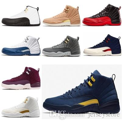 d63d7e5a4a62 Michigan Men Basketball Shoes 12 12s The Master GS Barons Wolf Grey French  Blue Flu Game Taxi Playoff Gym Red Camel Shoes Sneakers Online Shaq Shoes  From ...
