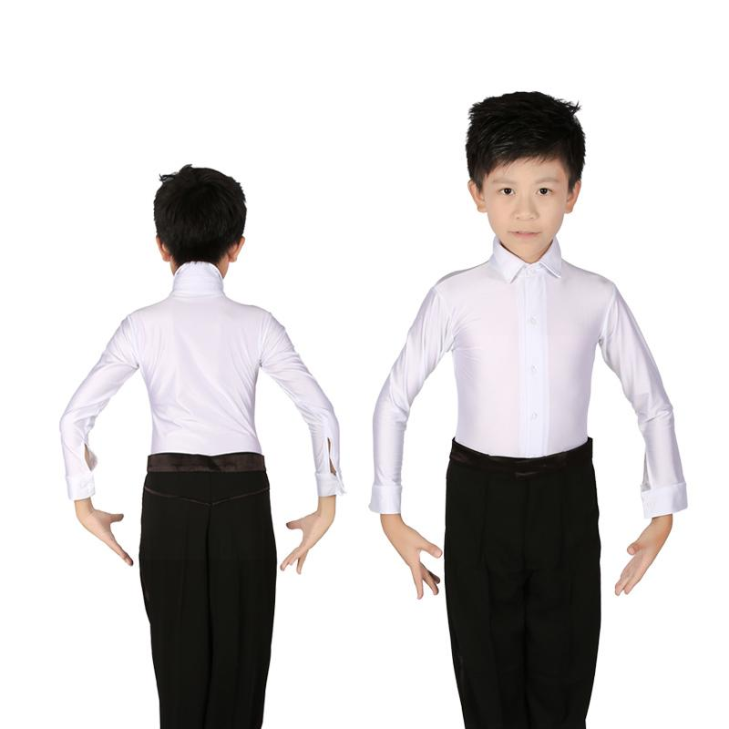 3e536fd80669 2019 White Boys Latin Dance Costumes Shiny Spandex Modern Ballroom Tango  Rumba Latin Shirts From Yonnie, $31.26 | DHgate.Com