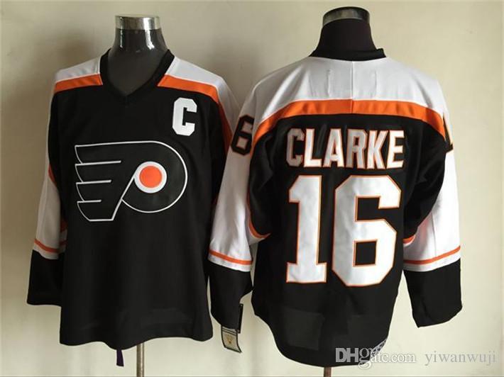 CCM Nuevos hombres cosidos Philadelphia Flyers En blanco # 1 PADRE / # 7 BARBER / # 8 SCHULTZ / # 16 CLARKE Blanco Negro Naranja CCM Camisetas de hockey sobre hielo