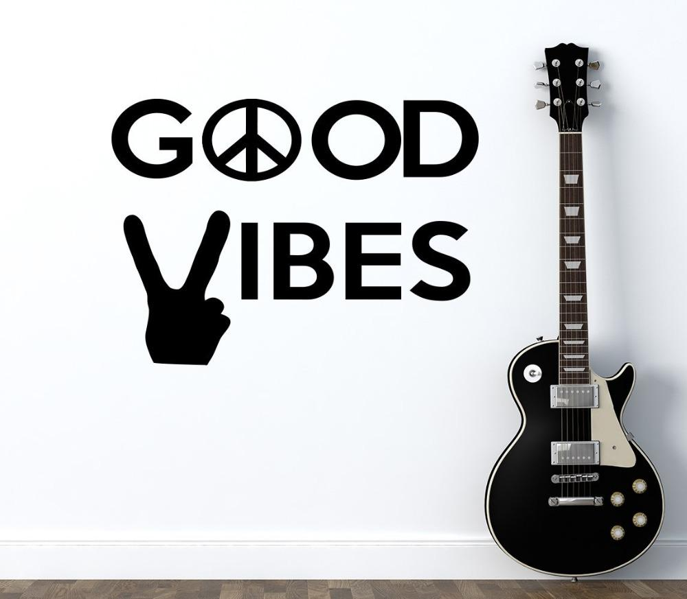Peace World Wall Decal Quotes Good Vibes Vinyl Stickers Peace Sign