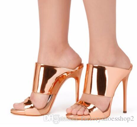 1c5c85cb1 Women High Heel Sandals 2018 Metallic Rose Gold Patent Leather Mule Nude  Heels Blush Summer Shoes Ladies Party Shoes Plus Size Prom Shoes Silver  Shoes From ...