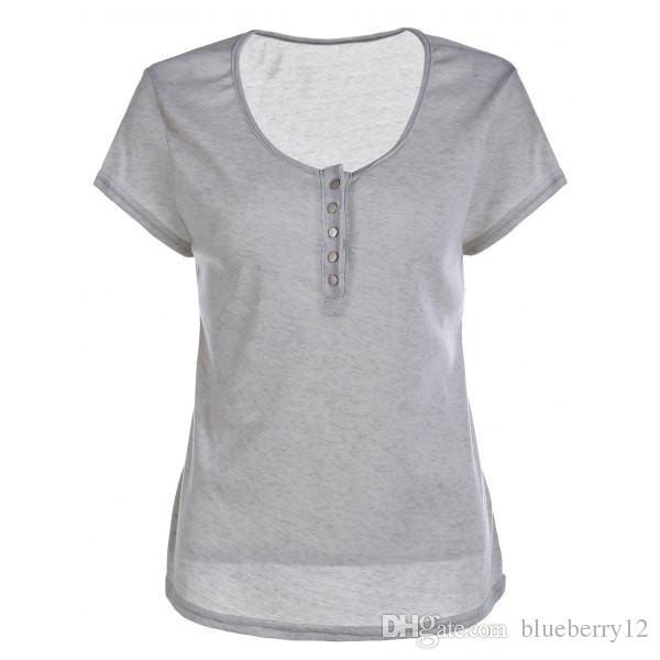 Сексуальные женщины футболка глубокий V-образным вырезом с короткими рукавами с кнопкой хлопок летом основные верхней одежды