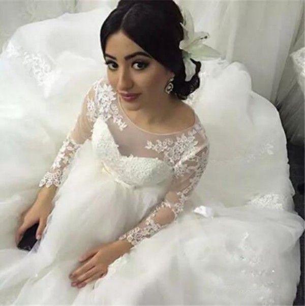 Wunderschöne Ballkleid Brautkleid Sheer Jewel Neck Puffy Tüll Brautkleider Spitze Appliques Sheer Long Sleeves Brautkleider