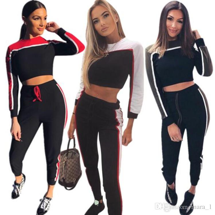 c2c7237978e 2019 Women Patchwork Hoodies Set Outfits Crop Tops Tights Leggings Tracksuit  Pullover Sweatshirt Sweat Pants Sportswear Women Clothes From Mara_1, ...