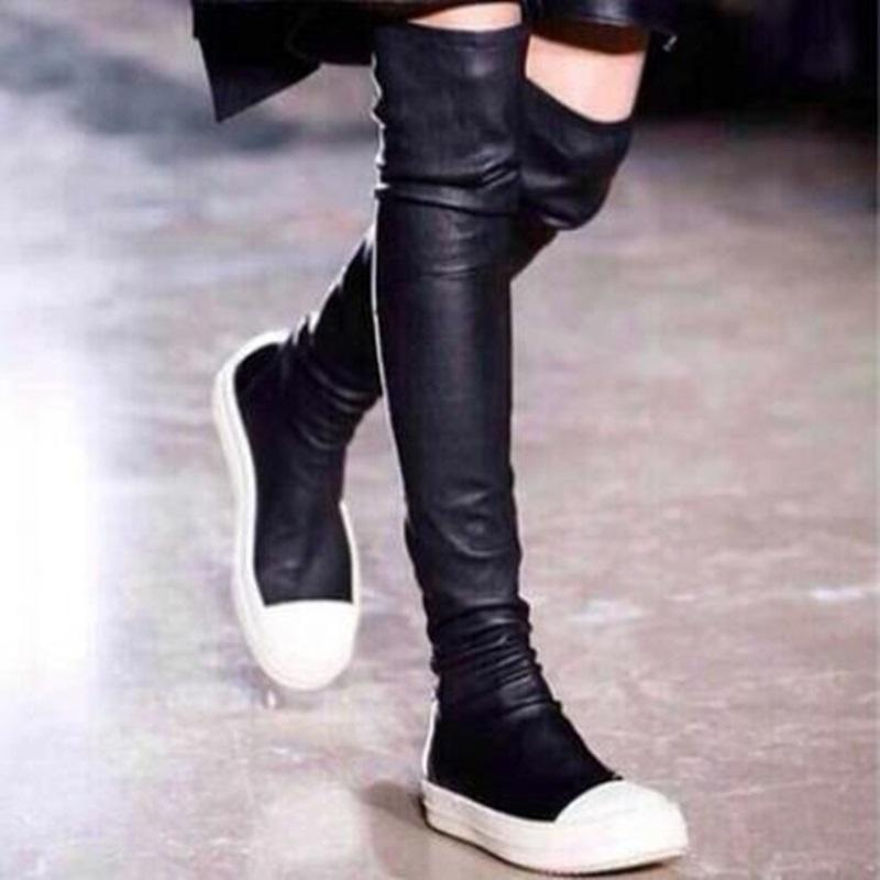 18ccaf4b291 Women Shoes New Over The Knee Thigh High Black Boots Women Motorcycle Flats  Long Boots Low Heel Suede Leather Shoes Szie 35 39 Winter Shoes Low Boots  From ...