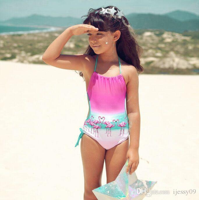2018 Ins Swimming Suit Flamingo Color Gradual Change Printing From