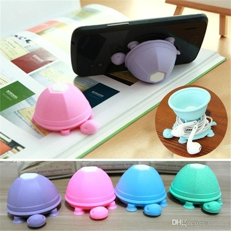 Silicone Phone Holder Suction stand earphone wrap bobbin winder Tortoise style turtle shape for Iphone X 8 Samsung 2in1 phone stand