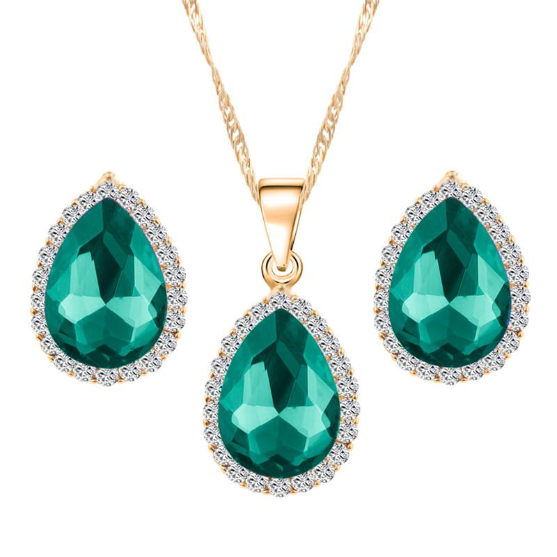 H:HYDE Austria Crystal Water Drop Earrings Necklace Jewelry Set Gold Color Jewelry for Women Classic Wedding Dress Accessories