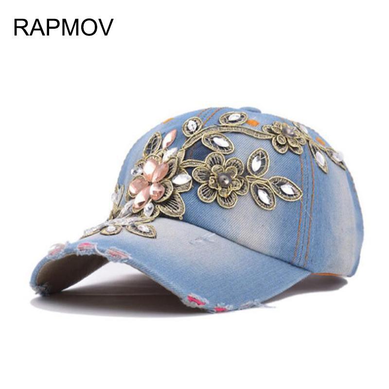 88e0ae35e Wholesale Women Fashion Rhinestone Diamante Denim Baseball Cap Hats Women s  Autumn Sports Hat Canvas Snapback Caps Good Quality