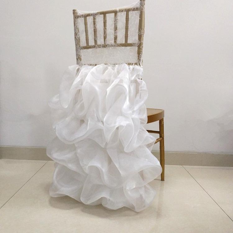 Lace Organza Weddding Chiavari Chair Cover Romantic Ruffled Wedding Chair Decor Engagement Party Accessories Custom Made