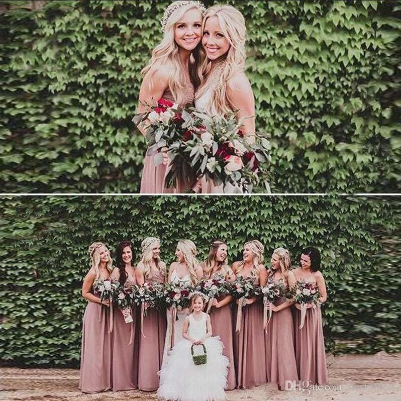 f56646f720e0 2019 Dusty Rose Pink Bridesmaid Dresses Sweetheart Ruched Chiffon A Line  Long Maid Of Honor Dress Wedding Party Gown Plus Size Beach BM0149 Discount  ...
