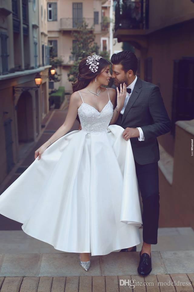 Charming Ankle Length Puffy Wedding Dresses 2018 Spaghetti Lace Appliques Ball Gown Saudi Arabia Bridal Gowns Cheap Plus Size Customized