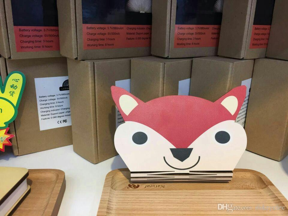 Creative RGB LED 3D folding light Colorful animal Cartoon Night light child bedroom bedside light table lamp USB charger Wooden Magnet Cover