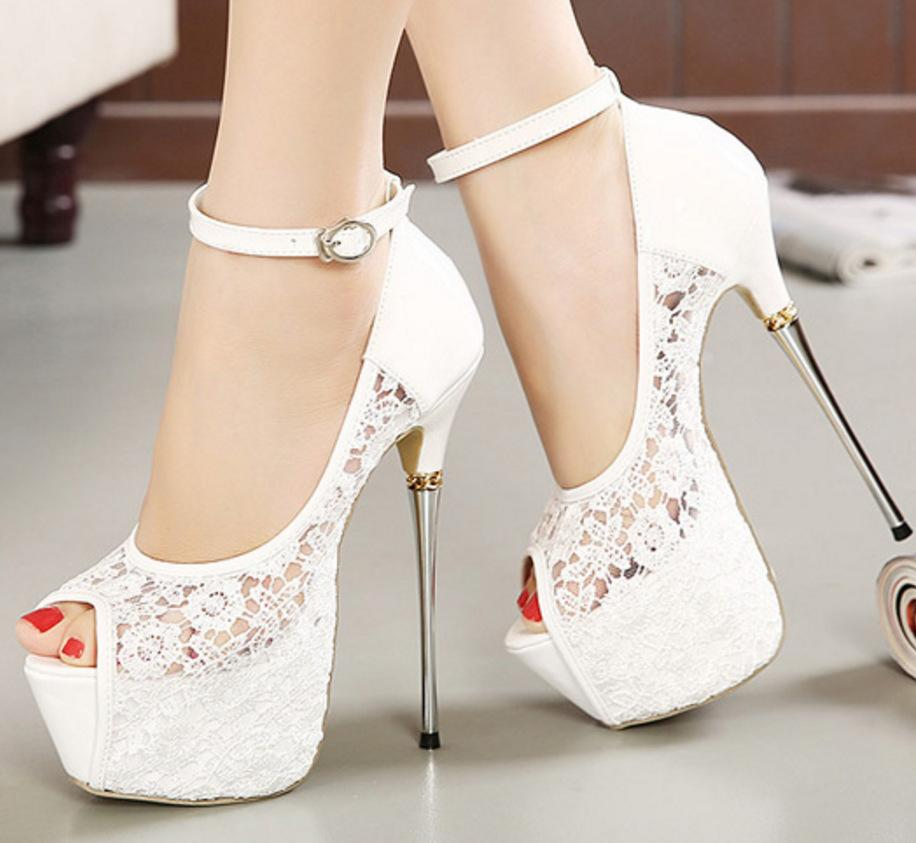 965bafead8fe 2018 Spring And Autumn Women Stiletto Sandals Nightclub Fashion New Party  Lace Super High Heels Metal With Fish Mouth Navy Shoes Driving Shoes From  Gh12580