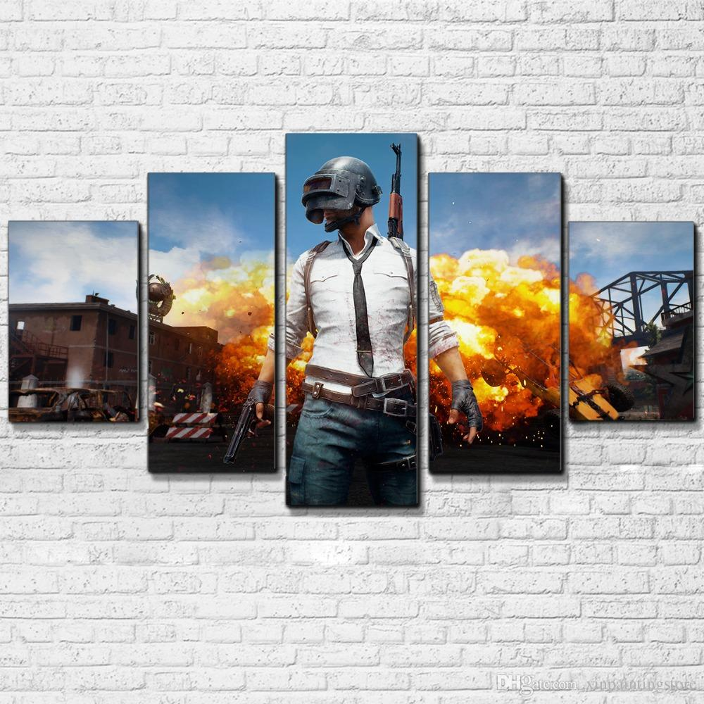 HD Print PUBG Jedi survived the battlefield Game poster Cuadros Landscape  Canvas art Spray Painting 5 pieces Picture Home wall Decoration