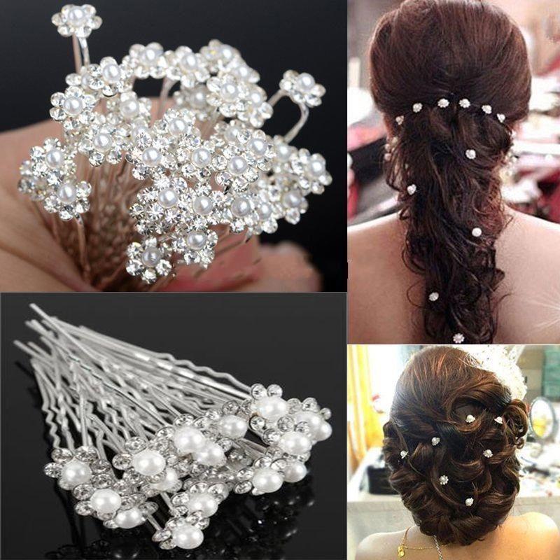 Saç Pins Saç Klipler Kızlar Kadınlar Için Beyaz İnci Kuaförlük Saç Aksesuarları Için Gelin Düğün Takı Çiçek Firkete Tokalarım