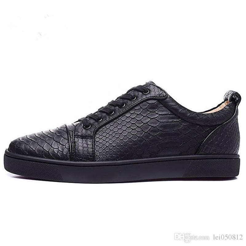 d40d8c86565 Size 36-46 Men Women Black Snake Print Leather Low Top Lace Up Fashion Red  Bottom Sneakers, Unisex Luxury Brand Comfort Casual Shoes