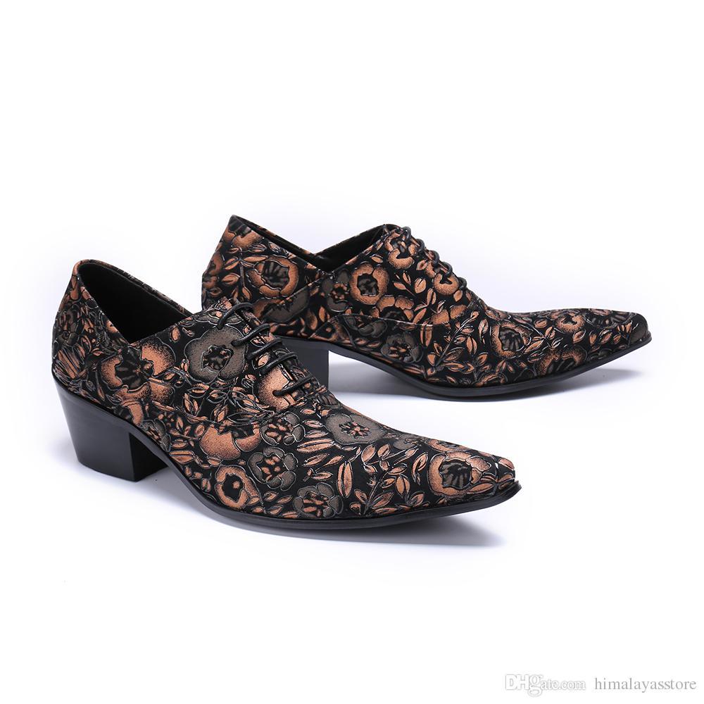Zapatos de vestir con cordones florales de moda para hombres Diseñador de marca 6cm Zapatos con elevador para hombres Zapatos de vestir de boda morados