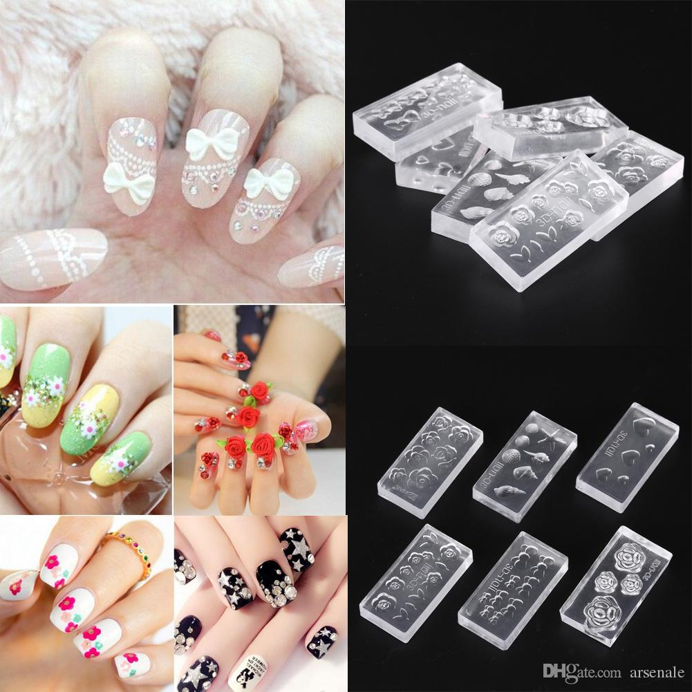 New 3d Nail Art Stamping Decoration Mold 6 Style Cute Design 3d Nail ...