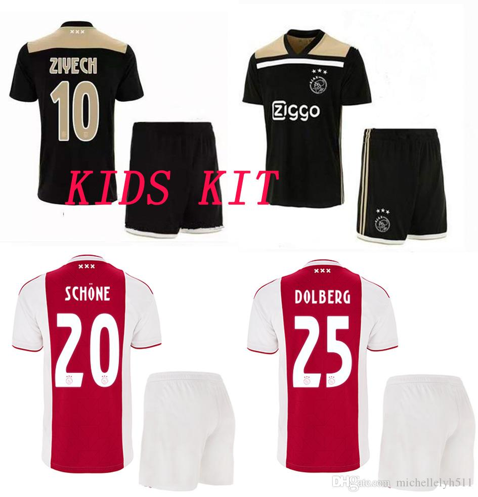 2019 18 19 Kids Ajax Soccer Jersey Shorts 2018 2019 ZIYECH HUNTELAAR  SANCHEZ NOURI DOLBERG Football Kit Thai Quality Boys Outdoor Sports  Uniforms From ... a3f66fdde