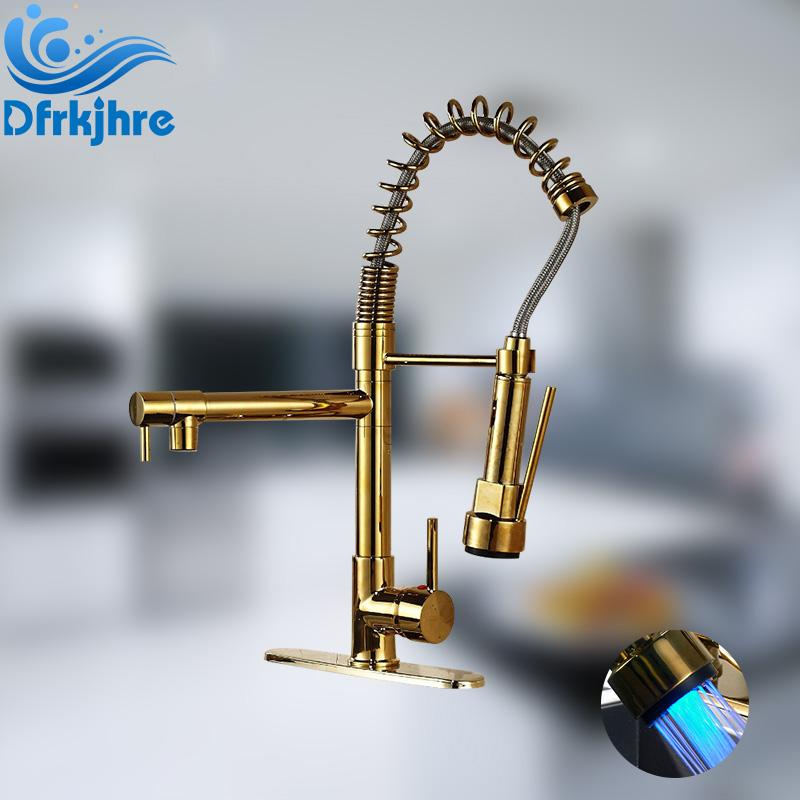ORB Chrome Gold Finish LED Kitchen Faucet Pull Down Faucet Mixer Valve Taps Single Handle LED Spout Spray with Cover Plate