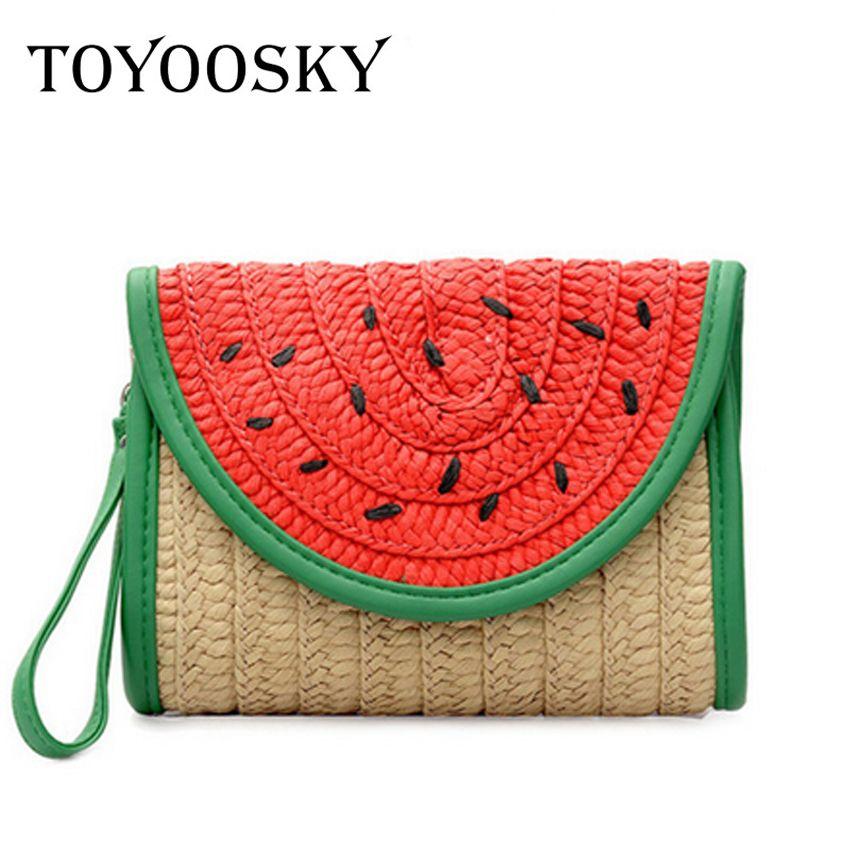 Großhandel Toyoosky 2018 Mode Lässig Stroh Tasche Nähen Wassermelone ...